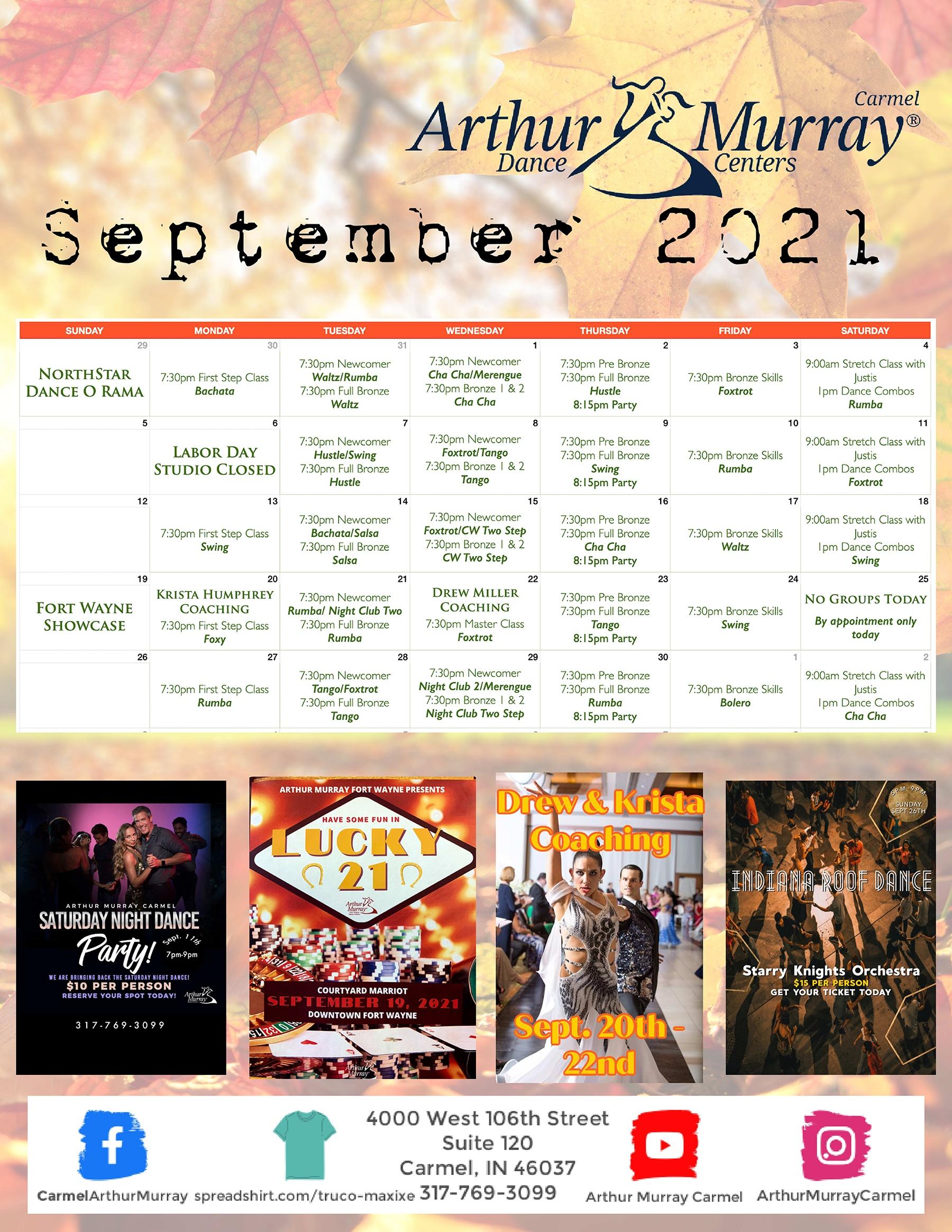 Dance Studio Carmel September Calendar